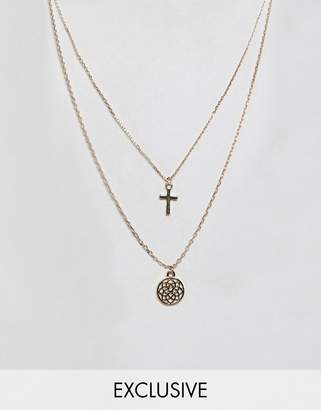 Reclaimed Vintage inspired cross and chakra multirow necklace
