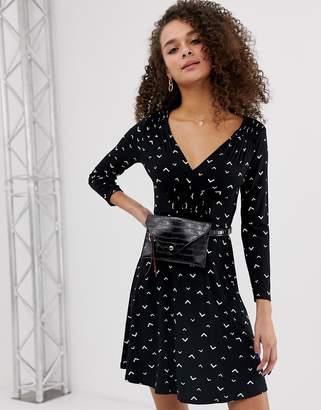Miss Selfridge skater dress with shirred detail in black