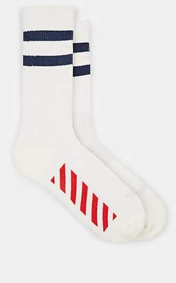 Off-White Men's Multi-Striped Stretch-Cotton Mid-Calf Socks - White Pat.