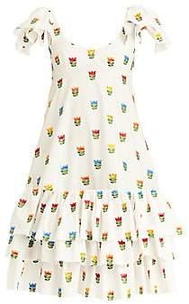 Carolina Herrera Women's Ruffle-Sleeve Scoopneck Bustier Dress