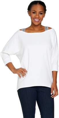 Belle By Kim Gravel Belle by Kim Gravel Open Shoulder Sequin Trim Sweatshirt