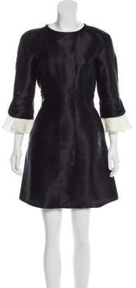 Valentino Fluted Long Sleeve Dress