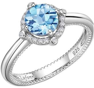 Lafonn Platinum Plated Sterling Silver Prong Set Aquamarine Simulated Diamond & Pave Halo Ring