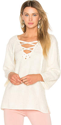 Line & Dot Larch Lace Up Top in Cream $84 thestylecure.com