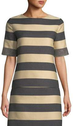 Derek Lam Studded Short-Sleeve Awning-Stripe Cotton Top