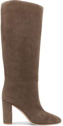 Gianvito Rossi 85 Suede Knee Boots - Taupe