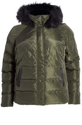 Quiz Curve Khaki Padded Faux Fur Hood Jacket