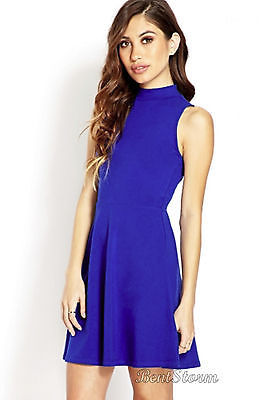 Forever 21 New Retro Skater Fit And Flare Dress Classic Royal Blue Free Shipping