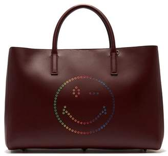 Anya Hindmarch Ebury Wink Smiley Leather Tote - Womens - Burgundy Multi