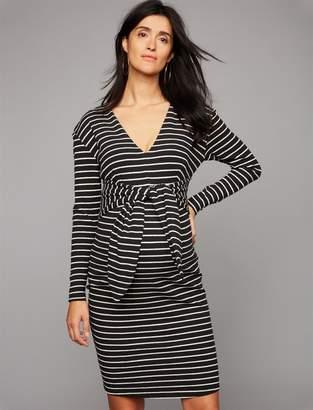 Tie Front Stripe Maternity Dress