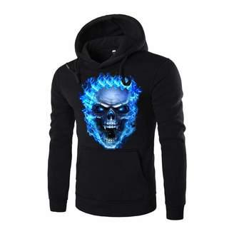Mens Hoodies Hoodies for Men, Clearance Sale! Pervobs Men's Autumn 3D Skull Print Casual Long Sleeve Hooded Hoodies Sweatshirt(L, )
