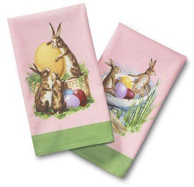 Vintage Bunny Towels, Set of 2