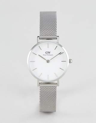 Daniel Wellington Petite Sterling White Dial Mesh Watch in Silver 28mm