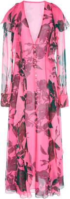 Carolina Herrera Long Sleeve Ruffle Detail Dress