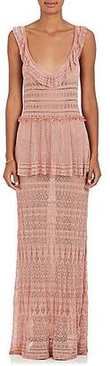 Alberta Ferretti Women's Tiered Crochet Gown - Pink, Blush
