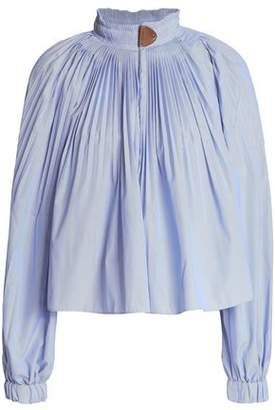 Tibi Pleated Striped Oxford Blouse
