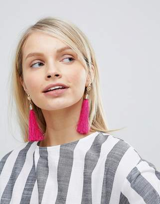South Beach Bright Pink Tassel Drop Statement Earrings (+)