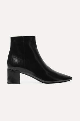 Saint Laurent Lou Crinkled Glossed-leather Ankle Boots - Black