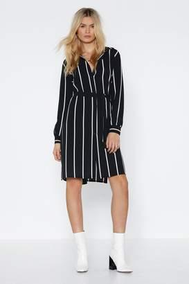 Nasty Gal Womens Stripe Down To It Shirt Dress - Black - 6