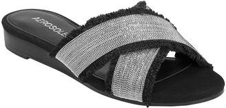 Aerosoles Fabric Cross Strap Slide Sandals - Just A Bit
