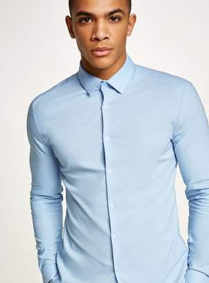 Topman Light Blue Muscle Fit Textured Long Sleeve Shirt