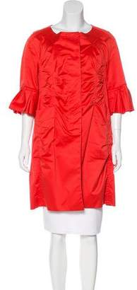 Nina Ricci Ruched Three-Quarter Sleeve Coat