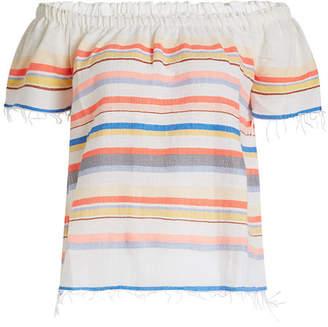 Lemlem Yodit Printed Cotton Off-Shoulder Top