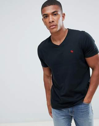 Abercrombie & Fitch Pop Icon v-neck t-shirt in black