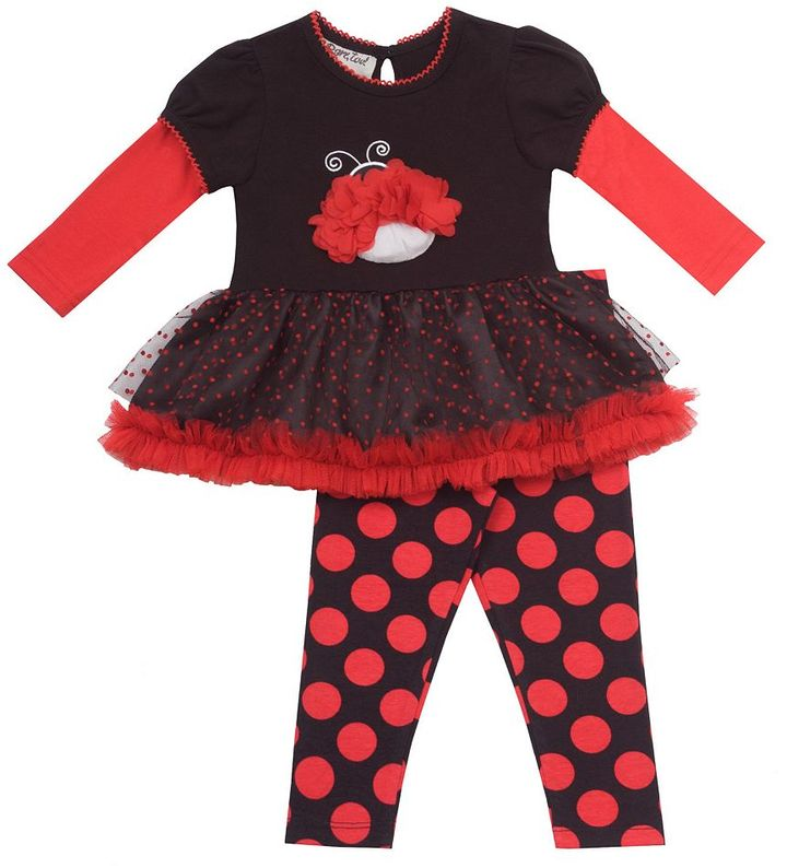 Rare Editions ladybug tutu dress & leggings set - baby