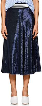 Robert Rodriguez Women's Striped-Waist Sequin Midi-Skirt - Navy