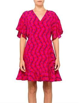 Kenzo Wave Polka Silk Habotai Dress