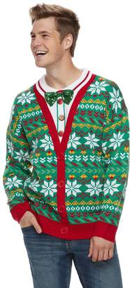 Men's Mock-Layered Christmas Cardigan Sweater