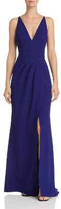 Aqua Pleat-front V-Neck Gown - 100% Exclusive