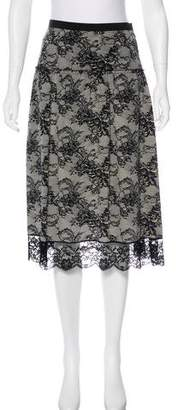 Behnaz Sarafpour Silk Lace-Accented Skirt