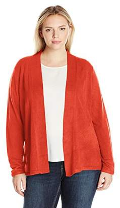Sag Harbor Women's Plus Size Open Flyaway Cashmerlon Cardigan Sweater with A-line Hem