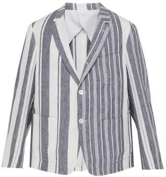 Thom Browne Striped Linen Blazer - Mens - Navy