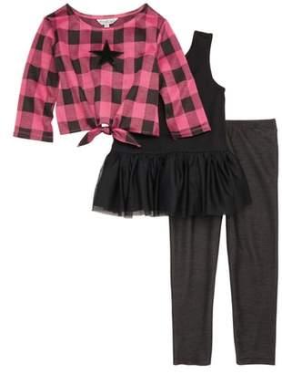 Pippa & Julie Sequin Star Top, Tutu Dress & Leggings Set