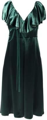 Valentino ruffled velvet midi dress