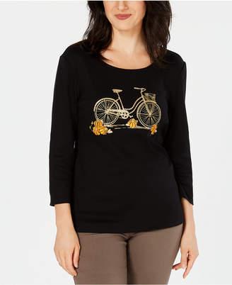 Karen Scott Cotton Halloween Pumpkin Ride Embellished 3/4-Sleeve T-Shirt