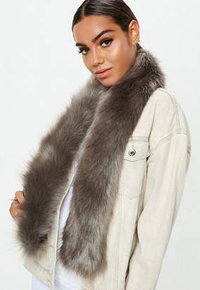 Missguided Grey Faux Fur Stole Scarf