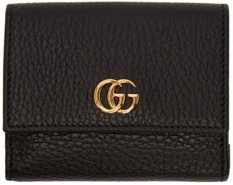 Gucci Black Medium GG Marmont Trifold Wallet