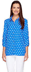 Susan Graver Cool Peach Polka Dot Shirt withRuched Sleeves