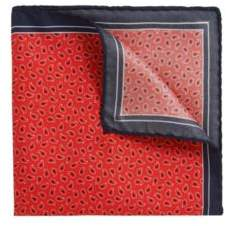 BOSS Hugo Patterned Italian Silk Twill Pocket Square One Size Red