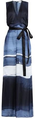 Amanda Wakeley Wrap-Effect Printed Silk-Georgette Wide-Leg Jumpsuit