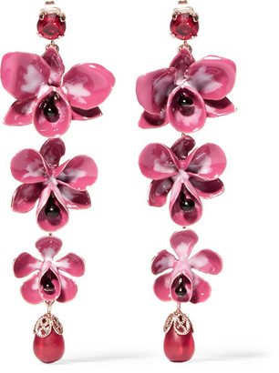 Etro - Gold-plated, Enamel, Resin And Crystal Earrings - Pink $420 thestylecure.com