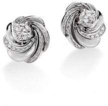 De Beers Aria Diamond& 18K White Gold Signature Stud Earrings