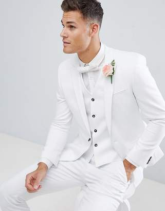 Asos Design DESIGN wedding skinny suit jacket with square hem in white 4be3089a80