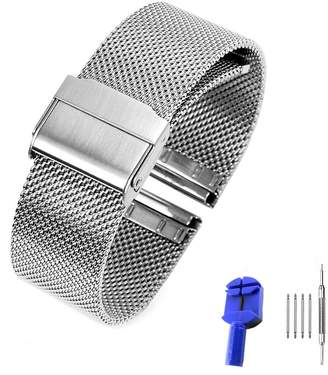 ADFANS Women's Mesh milanese Stainless Steel Watch Band Replacement Upgraded Adjustable Clasp For Dw