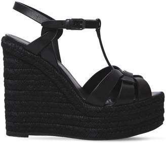 Saint Laurent 130mm Tribute Leather Wedge Sandals