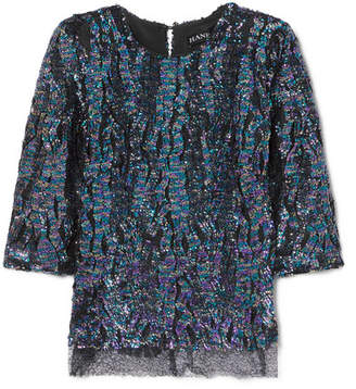 Haney - Anja Lace-trimmed Sequined Georgette Top - Purple